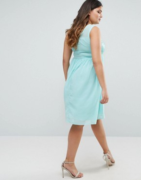photo Pleated Midi Dress With Embroidered Top by Club L Plus, color Mint Green - Image 2