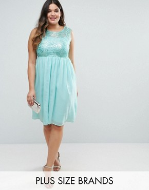 photo Pleated Midi Dress With Embroidered Top by Club L Plus, color Mint Green - Image 1