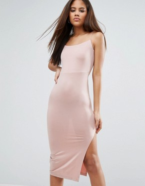 photo Slinky Midi Dress with Strappy Tie Back by ASOS TALL, color Champagne - Image 2
