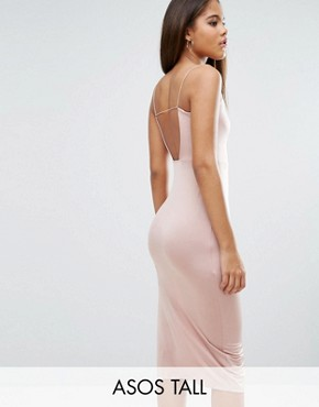 photo Slinky Midi Dress with Strappy Tie Back by ASOS TALL, color Champagne - Image 1