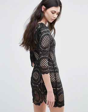photo London Calling Embroidered Lace Mini Dress by Goldie, color Black - Image 2