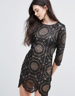 photo London Calling Embroidered Lace Mini Dress by Goldie, color Black - Image 1