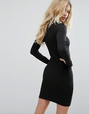 photo High Neck Dress with Leather Look Panel by G-Star, color Black - Image 2