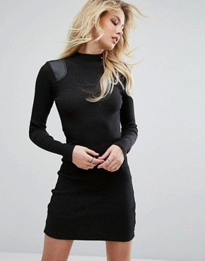 photo High Neck Dress with Leather Look Panel by G-Star, color Black - Image 1