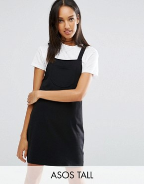 photo Pinafore Dress by ASOS TALL, color Black - Image 1