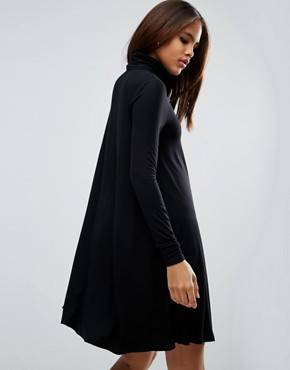 photo Swing Dress with Polo Neck & Long Sleeves by ASOS TALL, color Black - Image 2