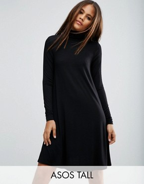 photo Swing Dress with Polo Neck & Long Sleeves by ASOS TALL, color Black - Image 1