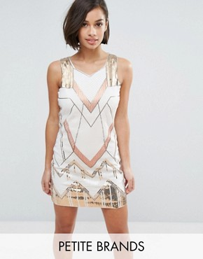 photo Shift Dress with Heavy Embellishment by Yumi Petite, color White Gold - Image 1