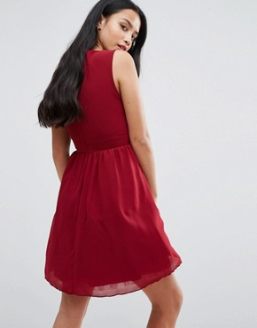 photo Skater Dress with Embellished Neckline by Yumi Petite, color Burgundy - Image 2