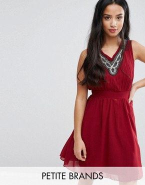 photo Skater Dress with Embellished Neckline by Yumi Petite, color Burgundy - Image 1