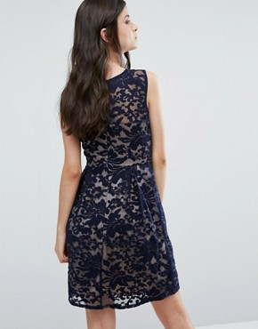 photo Skater Dress with Lace Overlay by Yumi Petite, color Navy - Image 2