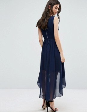 photo Embellished Dress with Dip Back Hem by Yumi Petite, color Navy - Image 2