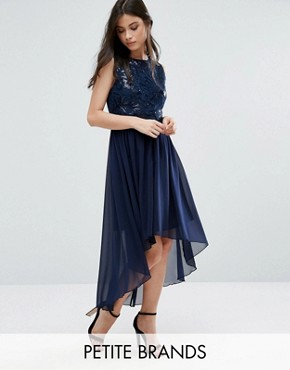 photo Embellished Dress with Dip Back Hem by Yumi Petite, color Navy - Image 1