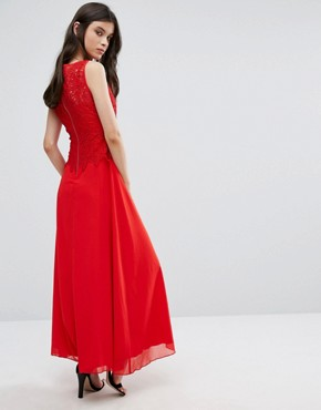 photo Maxi Dress with Lace Overlay Top by Yumi Petite, color Red - Image 2