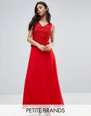 photo Maxi Dress with Lace Overlay Top by Yumi Petite, color Red - Image 1