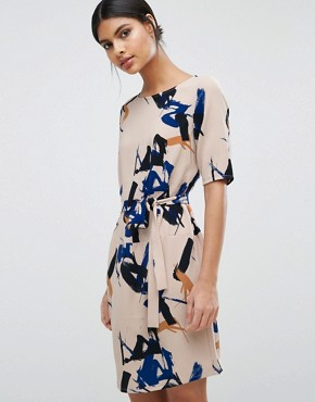 photo Printed Dress in Brush Stroke Print by Selected, color Shadow Grey Print - Image 1