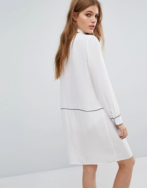 photo Piping Detail Shirt Dress by Selected Femme, color Snow White - Image 2