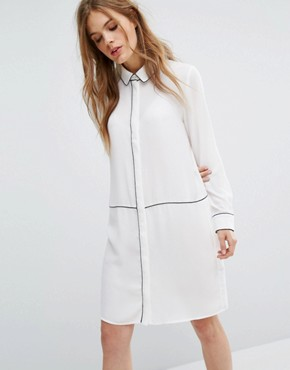 photo Piping Detail Shirt Dress by Selected Femme, color Snow White - Image 1