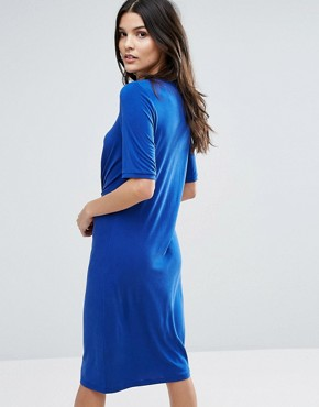 photo Jersey Knot Dress by Selected Femme, color Mazarine Blue - Image 2