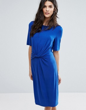 photo Jersey Knot Dress by Selected Femme, color Mazarine Blue - Image 1