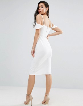 photo Textured Off The Shoulder Keyhole Midi Dress by ASOS, color Ivory - Image 2