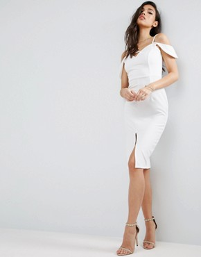 photo Textured Off The Shoulder Keyhole Midi Dress by ASOS, color Ivory - Image 1