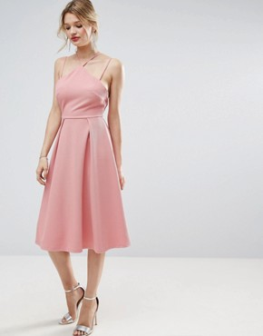 photo Waffle Texture Midi Skater Dress by ASOS, color Rose Pink - Image 2