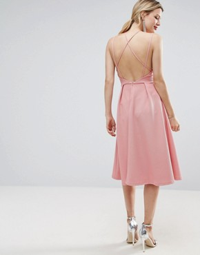 photo Waffle Texture Midi Skater Dress by ASOS, color Rose Pink - Image 1