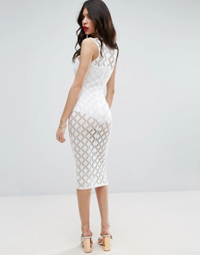 photo Lace Cross Front Midi Dress with Knicker by ASOS, color White - Image 2