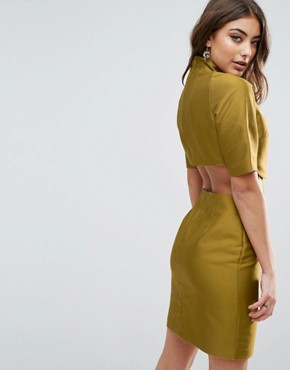 photo Two Piece Grown On Neck Mini Dress by ASOS, color Lime - Image 2