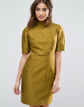 photo Two Piece Grown On Neck Mini Dress by ASOS, color Lime - Image 1