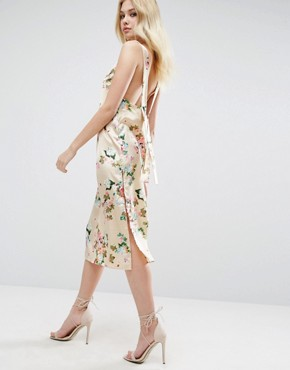 photo Satin Floral Print Cami Midi Dress by ASOS, color  - Image 2