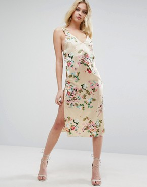 photo Satin Floral Print Cami Midi Dress by ASOS, color  - Image 1