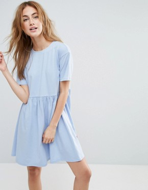 photo Smock Dress with Don't Look Back Embroidery by ASOS, color Chambray - Image 2