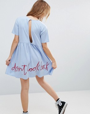 photo Smock Dress with Don't Look Back Embroidery by ASOS, color Chambray - Image 1