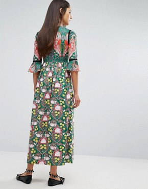 photo Flamingo Printed Maxi Dress by Comino Couture, color Green/Multi - Image 2
