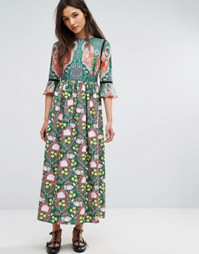 photo Flamingo Printed Maxi Dress by Comino Couture, color Green/Multi - Image 1