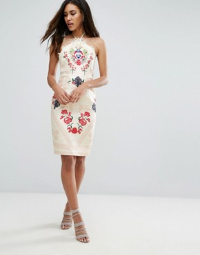 photo Halter Neck Printed Midi Dress by Comino Couture, color Cream/Red - Image 4