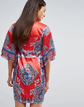 photo Printed Kimono Dress with Plunge Front by Comino Couture, color Red/Blue - Image 2