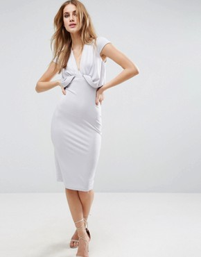 photo Crepe Fold Front T-Shirt Midi Dress by ASOS, color Lilac - Image 1