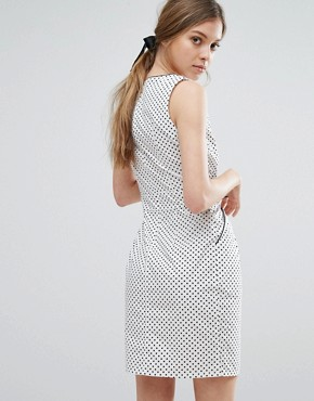 photo Polka Dot Dress With Tie Waist by Trollied Dolly, color White/Black dot - Image 2