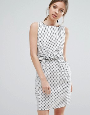 photo Polka Dot Dress With Tie Waist by Trollied Dolly, color White/Black dot - Image 1