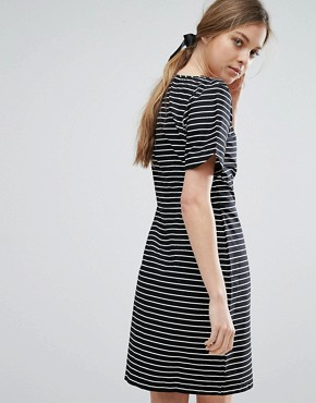 photo Stripe Pencil Dress by Trollied Dolly, color Black/White - Image 2