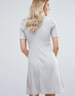 photo Wrap Front Skater Dress by Daisy Street, color Grey - Image 2