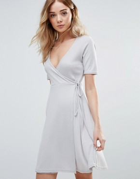 photo Wrap Front Skater Dress by Daisy Street, color Grey - Image 1