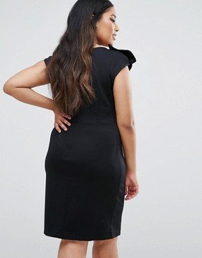 photo Pencil Dress With Bow Detail by Goddiva Plus, color Black - Image 2