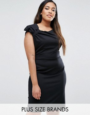 photo Pencil Dress With Bow Detail by Goddiva Plus, color Black - Image 1