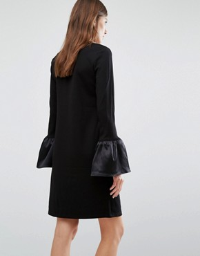 photo Satin Ruffle Cuff Shift Dress by Warehouse, color Black - Image 2