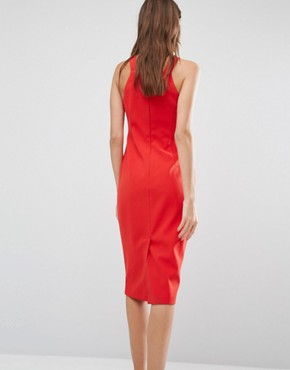photo High Neck Pencil Midi Dress by Warehouse, color Red - Image 2