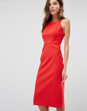 photo High Neck Pencil Midi Dress by Warehouse, color Red - Image 1